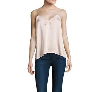 Cami NYC The Racer lace-trimmed silk-charmeuse top